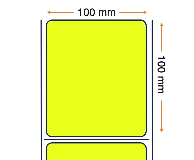 Etiquetas 100x100 Polipropileno / Adhesivo Permanente - Amarillo 30.000 etiquetas