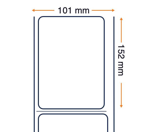 Z-Perform 1000D - Etichetta in carta termica diretta senza rivestimento economico - Adesivo permanente - 101,6 mm x 152,4 mm