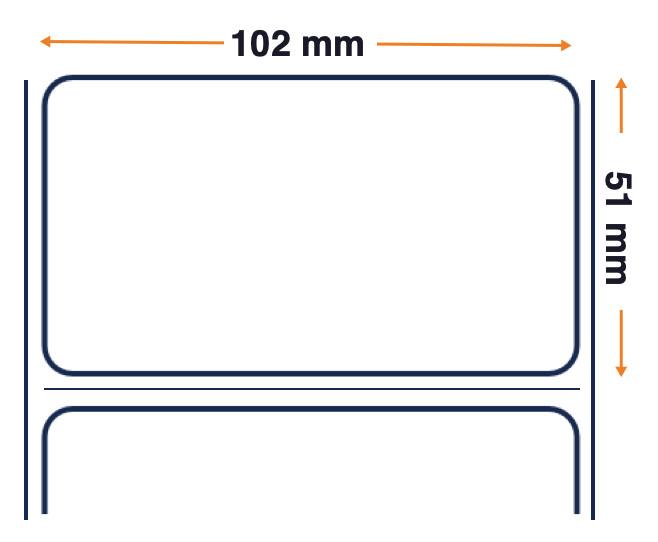 Zebra, Rollo de etiquetas, Plástico, 102x51mm, 4 unidades por caja