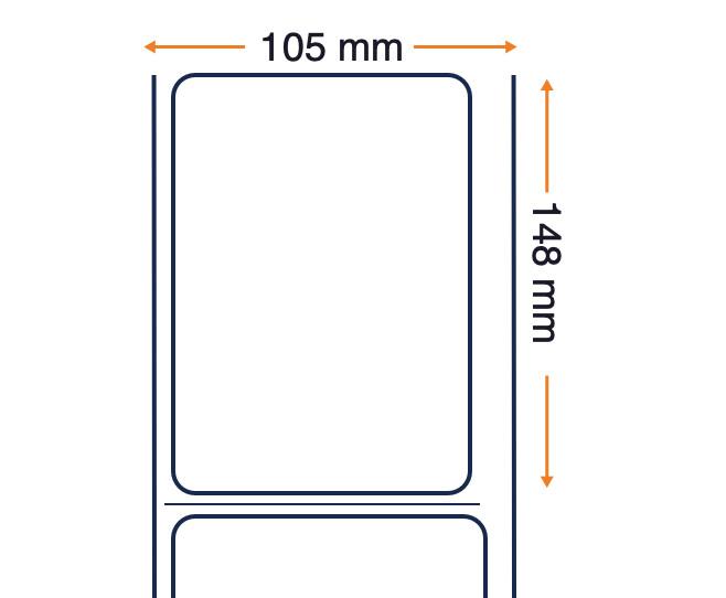 les étiquettes de transfert thermique - adhésif acrylique permanent non couché - 105 x 148 mm - étiquettes par rouleau: 1000 - Taille du noyau: 76 mm (3 « ) - rouleaux par boîte: 4