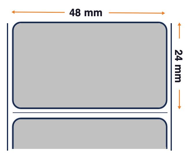 Tag, Et. 48mmx24mm color argento lucido poliestere / adesivi 5000.etiquetas Forti