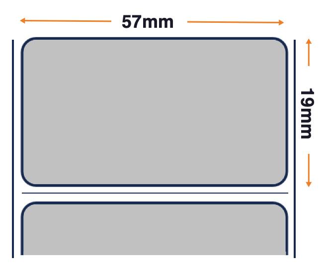 Z-Ultimate 3000T - Argento lucido Premium - Etichetta in poliestere a trasferimento termico - Adesivo permanente - 57 mm x 19 mm