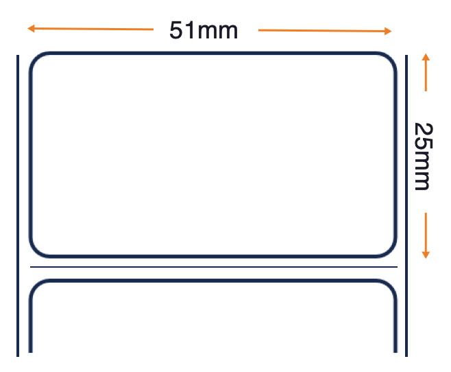 PolyE 3100T Gloss - Thermal Transfer Polyethylene Labels - All Purpose Permanent Acrylic Adhesive - 51mm x 25mm