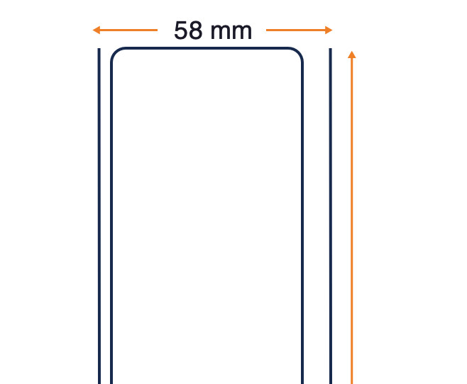 8000D Linerless Mobile - Top Direct Thermal White Uncoated Label - Permanent Adhesive - 58mm x Cont