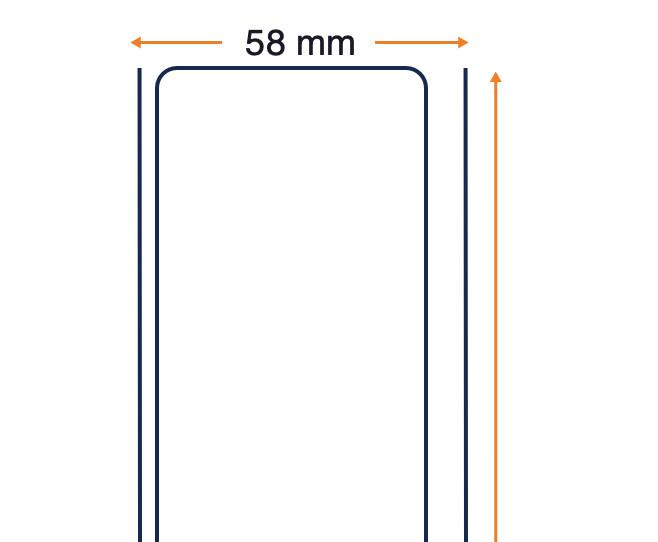 8000D Linerless Mobile - Oben direktes thermisch weißes unbeschichtetes Etikett - Permanentkleber - 58 mm x Forts