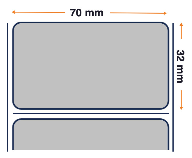 Z-Ultimate 3000T - Premium Glossy Silver - Thermal Transfer Polyester Label - Permanent Adhesive - 70mm x 32mm
