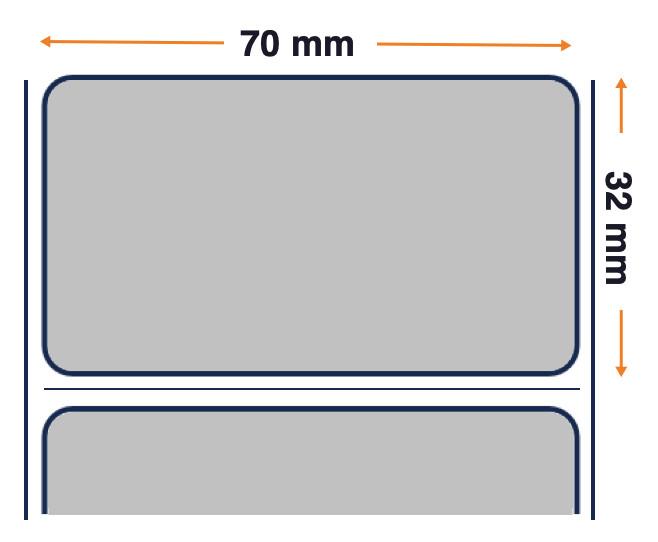 Zebra Z-Ultimate 3000T, Rollo de etiquetas, Plástico, 70x32mm, plata, 12 unidades por caja