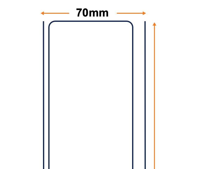 Rollo de 70mm por 200 metros lineales Blanco brillo Polipropileno, adh acrílico 5 unid.