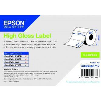 Bopp High Gloss Label Cont Roll 203 X 68M